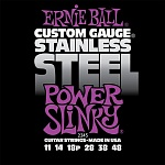 P02245 Power Slinky Steel Комплект струн для электрогитары, сталь, 11-48, Ernie Ball
